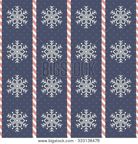 Christmas Pattern. Seamless Vector Illustration With Heart-shaped Candy Canes And Snowflakes