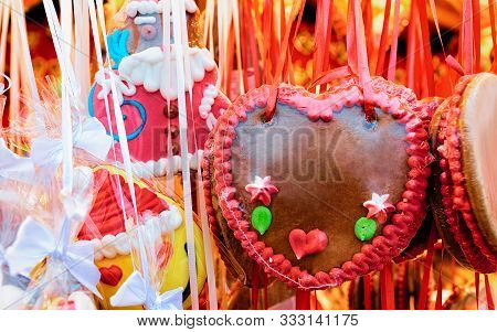 Gingerbread Hearts Cookies Christmas Market At Charlottenburg Palace Berlin