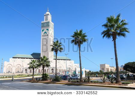 Hassan Ii Mosque In Casablanca, Morocco, Over Blue Sky
