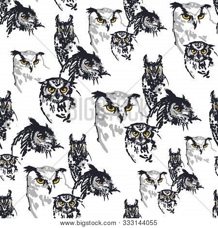 Owls Seamless Pattern. Ink Brush-pen And Markers On Paper. Black, Greys And Yellow Colors. Isolated