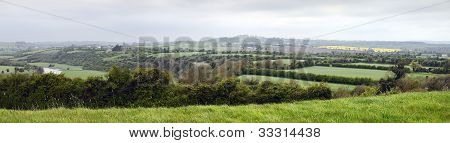 Panorama River Boyne Valley near Knowth Co. Meath Ireland poster