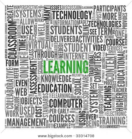 Conceito de aprendizagem e educação em nuvem de Tags de palavra em branco