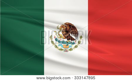 Mexico Flag Vector Icon, Mexico Flag Waving In The Wind.