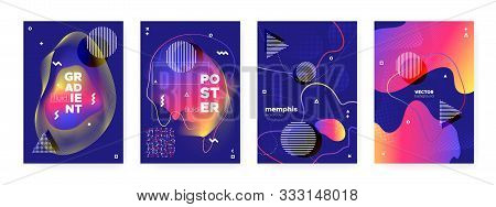 poster of Flow Memphis Gradient. Graphic Hipster Cover. Dark Wave Shapes. Modern Bauhaus Illustration. Fluid Memphis Background. Futuristic Abstract Cover. Bright Liquid Shapes. Fluid Memphis Brochure.