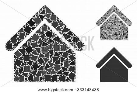 Base Building Composition Of Abrupt Pieces In Various Sizes And Shades, Based On Base Building Icon.