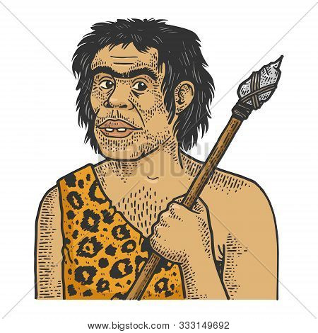 Primitive Caveman Human Sketch Engraving Vector Illustration. T-shirt Apparel Print Design. Scratch