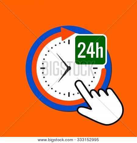 24 Hours Icon. Constant  Service Concept. Hand Mouse Cursor Clicks The Button. Pointer Push Press
