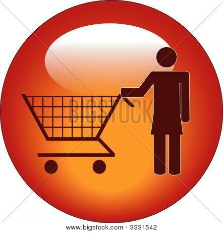 Button Stick Woman Pushing Shopping Cart.