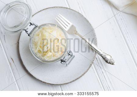 Homemade Sauerkraut Village Fermented Cabbage. Vegan Salad Rustic Style Glass Jar. Fermented Food Gr