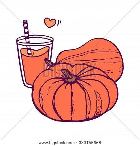 Pumpkin Juice And Two Whole Pumpkins.  Hand-drawn In Cartoon Style, Colored Artwork Isolated On Whit