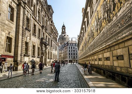 Dresden.germany.august 30, 2019.panel Procession Of The Princes And The Dome Of The Frauenkirche In