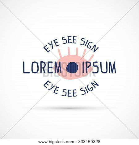 Cubism Logo Sign Blue Pink Round Text Eye