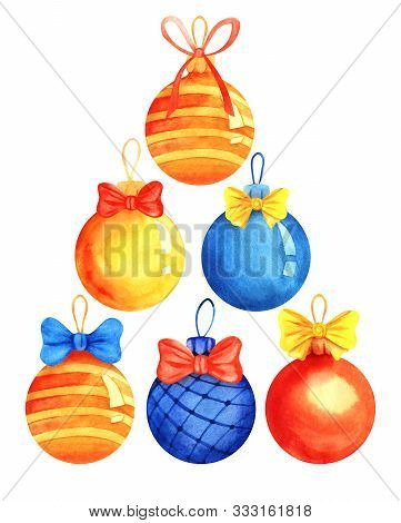 Set Six Decorative Elements. Multi-colored Christmas Balls. Christmas Tree Decorations. Yellow, Blue