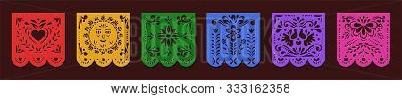 Set Of Papel Picado Banners. Mexican Garlands, Fiesta Party Supplies, Party Decorations, Destination