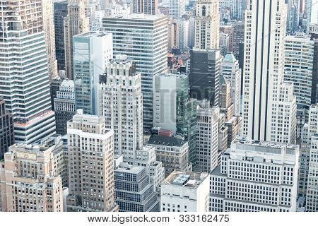 New York, Usa - May 17, 2019: New York City Skyscrapers In Midtown Manhattan Aerial Panorama View In