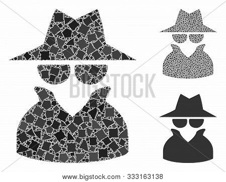 Spy Mosaic Of Irregular Items In Different Sizes And Color Tints, Based On Spy Icon. Vector Irregula
