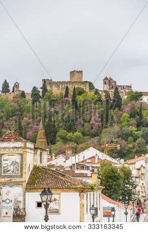 Tomar / Portugal - 04 04 2019 : Full View At The Convent Of Christ, Roman Catholic Convent In Tomar,