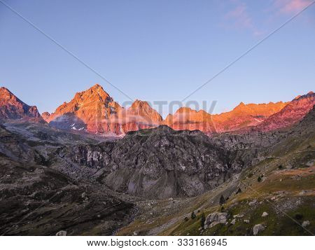 Monte Viso Is The Highest Mountain Of The Cottian Alps. It Is Located In Piemonte In Italy Close To