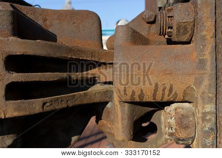 Rusty Railway Carriage Coupler (carriage Hitch). Close-up Of An Industrial Fragment