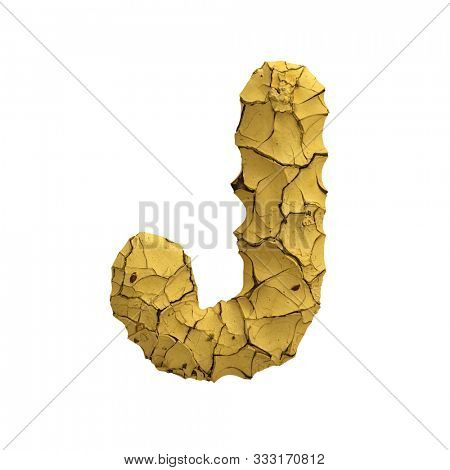 Soil clay letter J - Capital 3d cracked ground font isolated on white background. This alphabet is perfect for creative illustrations related but not limited to Nature, dryness, global warming...