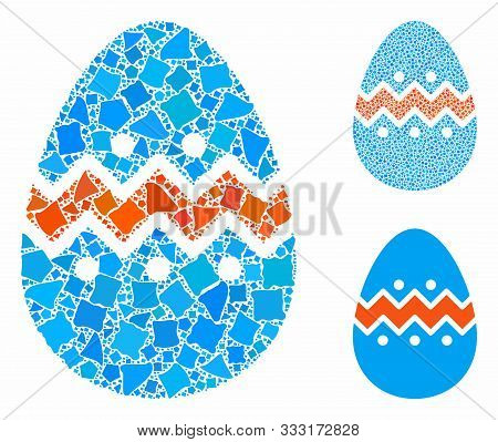 Easter Egg Composition Of Unequal Items In Variable Sizes And Color Tinges, Based On Easter Egg Icon