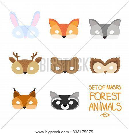 Illustration Set Of Cartoon Animal Forest Carnival Masks: Bear, Fox, Hare, Wolf, Owl, Squirrel, Deer