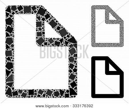 Document Page Mosaic Of Bumpy Items In Various Sizes And Color Tones, Based On Document Page Icon. V