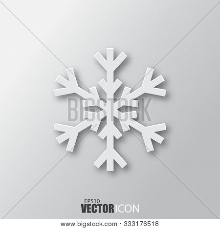 Snowflake Icon In White Style With Shadow Isolated On Grey Background.
