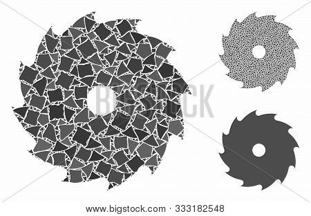 Circular Saw Mosaic Of Bumpy Items In Variable Sizes And Color Hues, Based On Circular Saw Icon. Vec