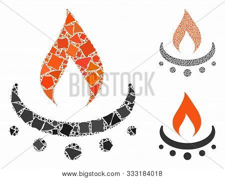 Gas Burner Jet Flame Mosaic Of Trembly Elements In Different Sizes And Color Hues, Based On Gas Burn