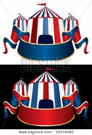 vector Illustration of a circus tent on black and white background poster