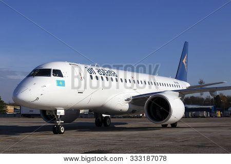 Borispol, Ukraine - October 29, 2019: P4-khd Air Astana Embraer E190-e2 Aircraft On The Parking Area