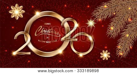 Merry Chistmas And Happy New Year 2020 Shining Luxury Xmas Red Background With Gold Text, Confetti,
