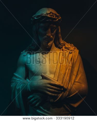 AMSTERDAM, NETHERLANDS - JUNE 15, 2019: Jesus Christ statue called Behold the man or Ecce homo, made by Dutch sculptor Louis Royer in 1826. Rijksmuseum - the most important art museum in Holland
