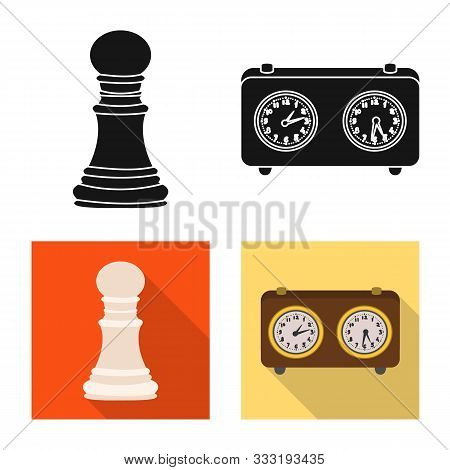Isolated Object Of Checkmate And Thin Logo. Collection Of Checkmate And Target Stock Vector Illustra