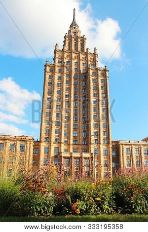 Riga, Latvia - August 31, 2019: Building Of The Latvian Academy Of Sciences, An Example Of Stalinist