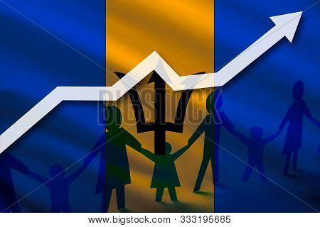Barbados Flag On A Background Of A Growing Arrow Up And People With Children Holding Hands. Demograp