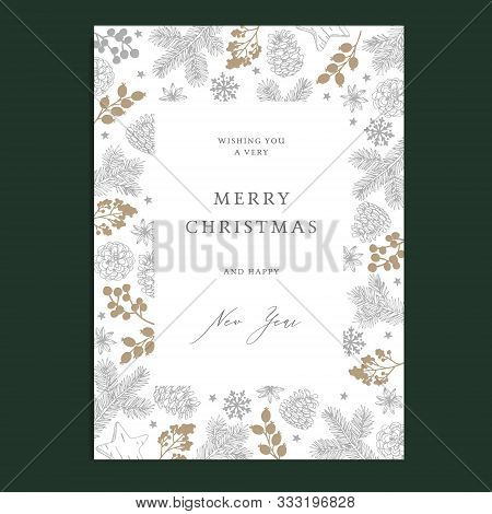 Merry Christmas, Happy New Year Floral Greeting Card, Winter Nvitation. Holiday Frame With Fir Tree