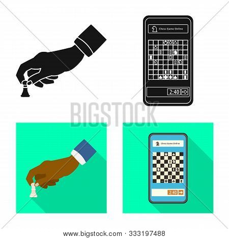Vector Illustration Of Checkmate And Thin Sign. Collection Of Checkmate And Target Stock Symbol For