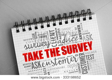 Take The Survey Word Cloud Collage, Business Concept Background