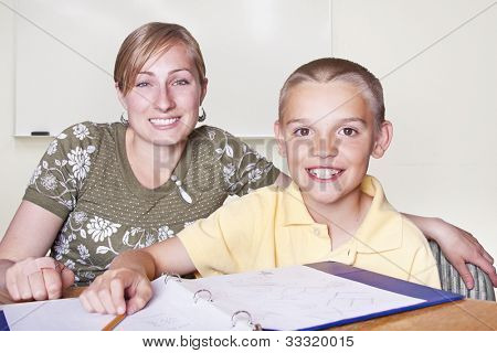 Elementary School Teacher and her student