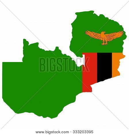 Map Flag Of Zambia Vector Illustration. Eps 10.
