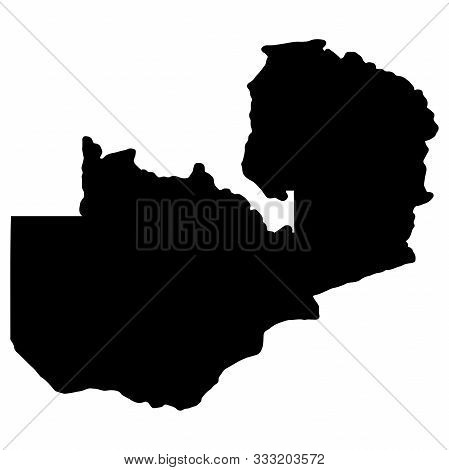 Map Silhouette Of Zambia Vector Illustration. Eps 10.