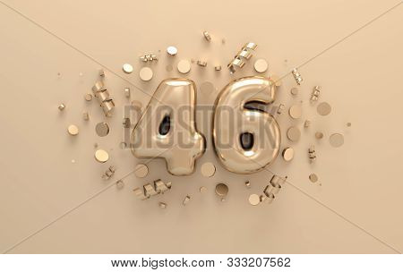 Golden 3d Number 46 With Festive Confetti And Spiral Ribbons. Poster Template For Celebrating 46 Ani