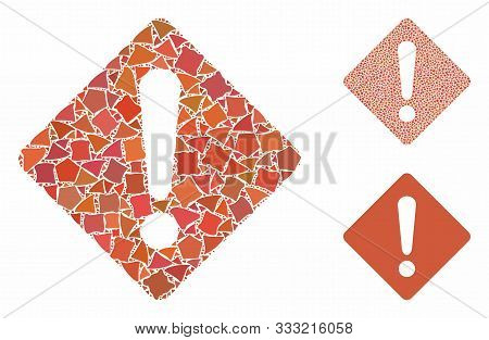 Exclamation Mosaic Of Tuberous Parts In Various Sizes And Color Hues, Based On Exclamation Icon. Vec