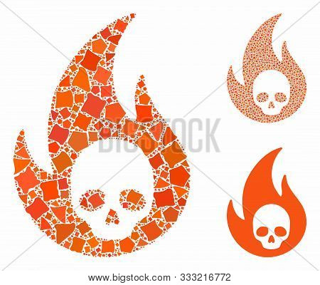 Hell Fire Composition Of Tuberous Parts In Various Sizes And Color Hues, Based On Hell Fire Icon. Ve