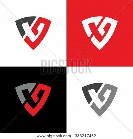 Initial Letter Cg And Shield, Vector Logo Illustration Design, Red And Black Color  - Vector