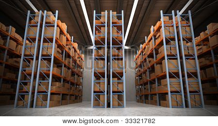 3D rendering of a distribution warehouse with shelves, racks, boxes ideal for backgrounds