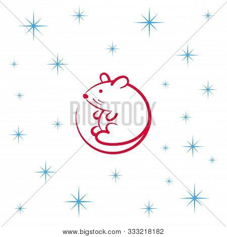 Little Cartoon Mouse. The Animal Of The Chinese Zodiac. Flat Vector Illustration
