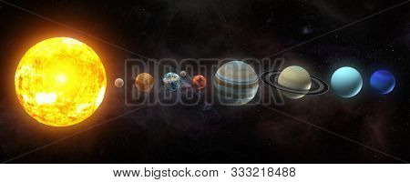 Solar system planets set. The Sun and planets in a row on universe stars background.Elements of this image furnished by NASA. 3d illustration
